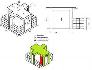 progetto stand fieristico disegno